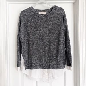 LOFT long sleeve top | attached button down